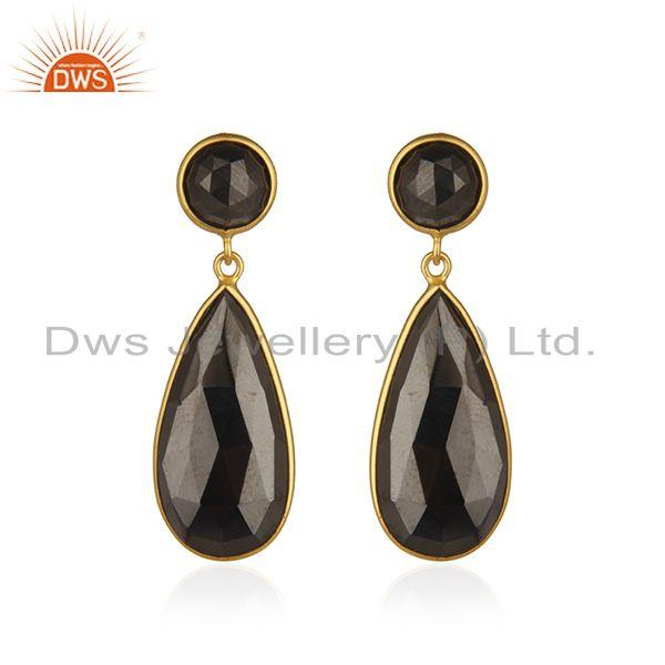 Hematite Gemstone Gold Plated 925 Silver Designer Earrings Manufacturer India