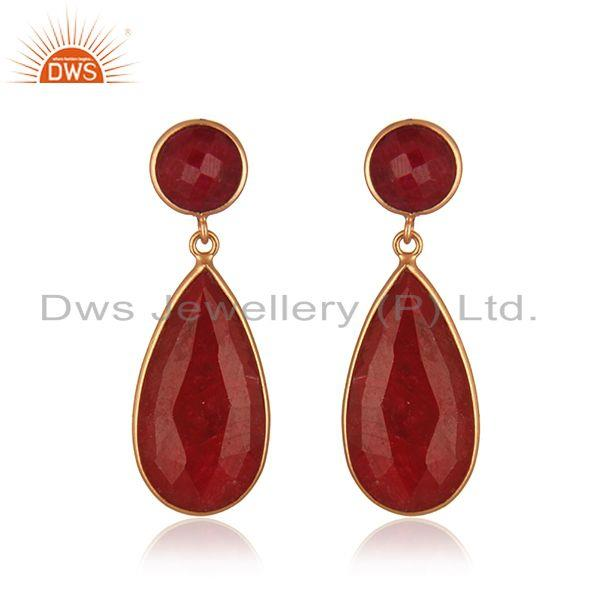 Corundum Ruby Gemstone Gold Plated 925 Silver Earring Manufacturer India