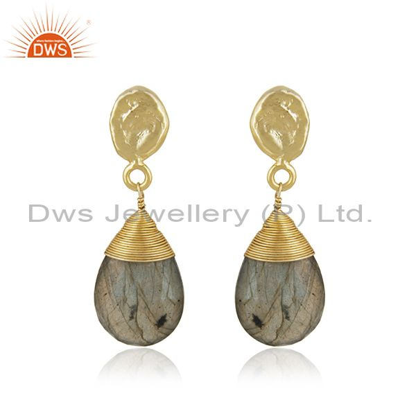 Womens Brass Gold Plated Fashion Labradorite Gemstone Drop Earrings