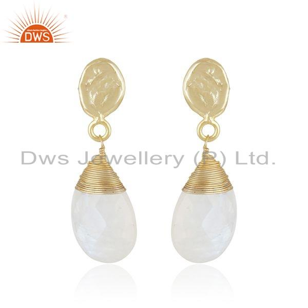 New Rainbow Moonstone Gemstone Brass Gold Plated Fashion Dro Earrings