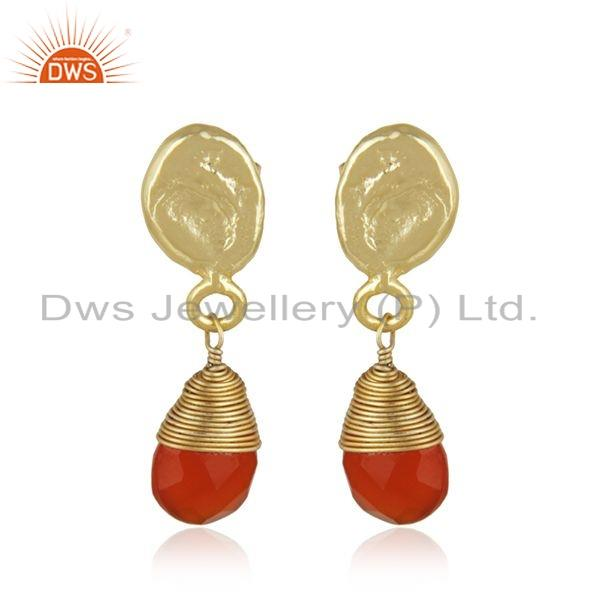 Carnelian Gemstone Designer Brass Fsahion Dro Earrings Jewelry
