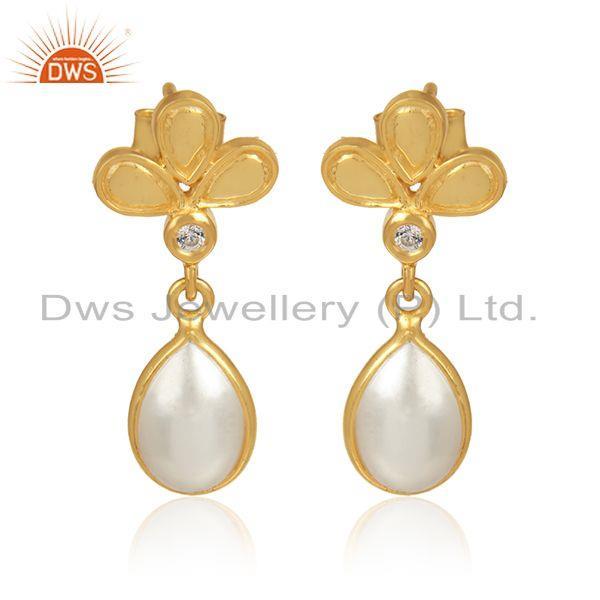 Floral gold plated 925 silver cz natural pearl gemstone earrings