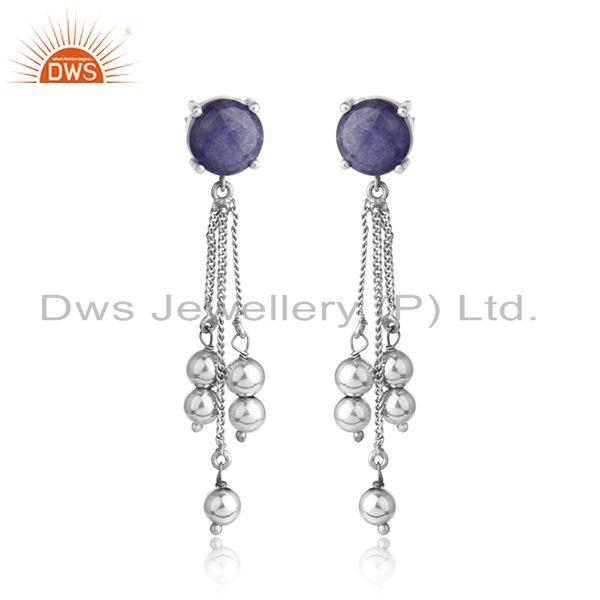 New look white rhodium plated silver tanzanite gemstone earrings