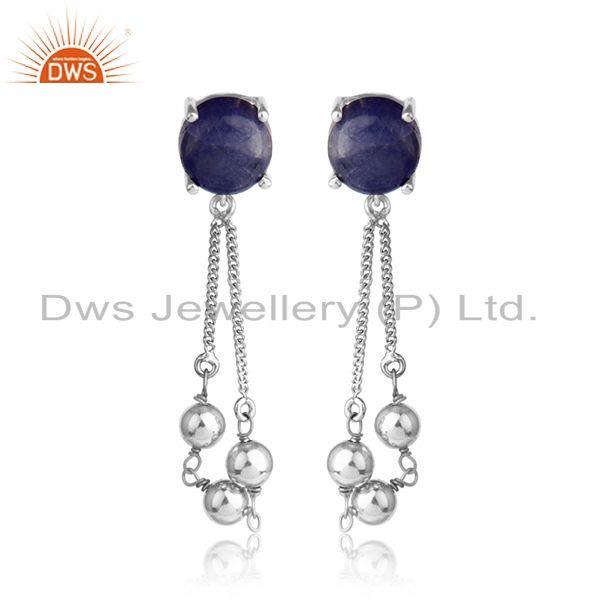 Designer white rhodium plated silver tanzanite gemstone earrings