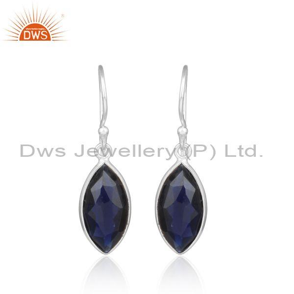 Cultured blue corundum fine silver tear drop dangle earrings