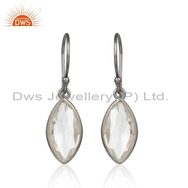 Black Plated 925 Silver Oval Crystal Quartz Dangle Earrings