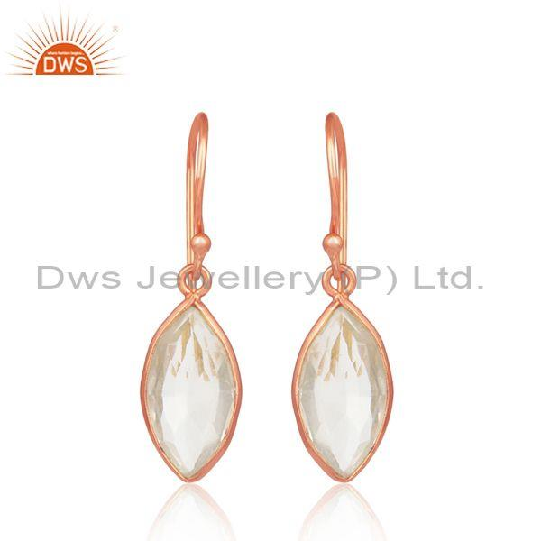 Rose Plated 925 Silver Oval Crystal Quartz Dangle Earrings