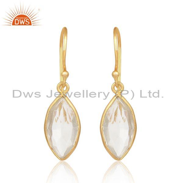 Crystal quartz stone gold on 925 silver oval design earring