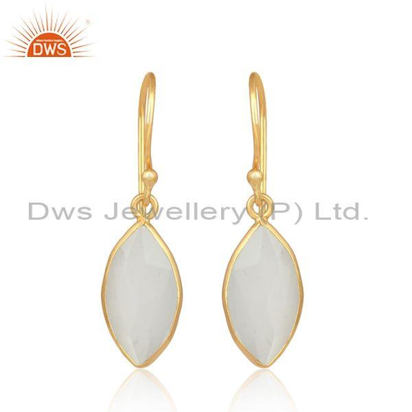 White Moon Stone Gold On 925 Sterling Silver Oval Earring