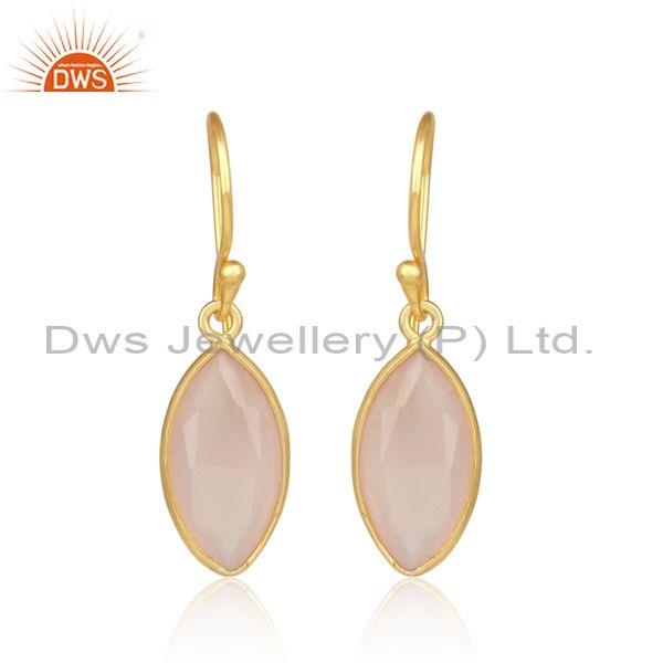 Oval Rose Chalcedony Set Gold On Sterling Silver Earring