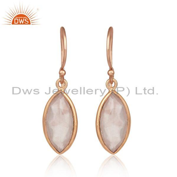 Oval Briolette Rose Quartz Handmade Rose Plated Earrings