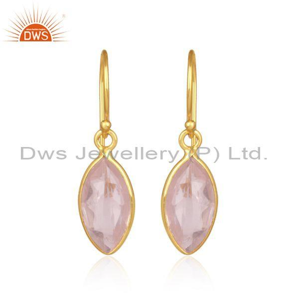 Rose quartz oval shaped gold on silver casual drop earrings