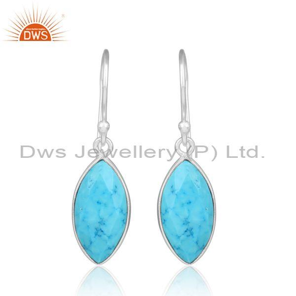 Briolette Turquoise Cultured Handmade Fine Silver Earrings