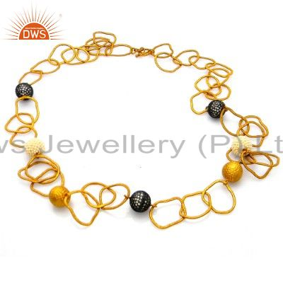 22k yellow gold plated brass cubic zirconia hammered link chain necklace