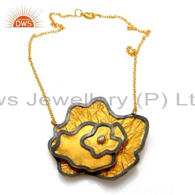 22k yellow gold plated brass cubic zirconia flower design link chain necklace