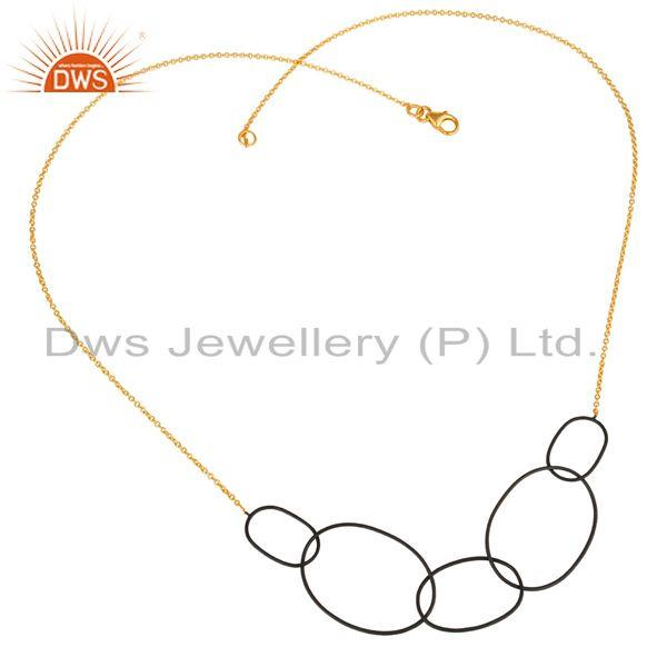 14K Gold Plated & Black Oxidized Sterling Silver Link Chain Necklace For Women`s