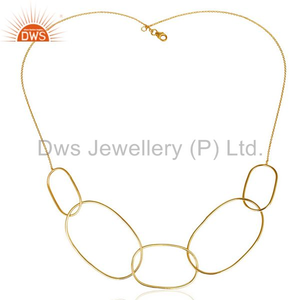 14K Yellow Gold Plated Sterling Silver Link Chain Necklace For Women`s