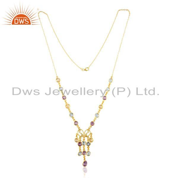 Natural Multi Gemstone Gold Plated Sterling Silver Women Chain Neckace