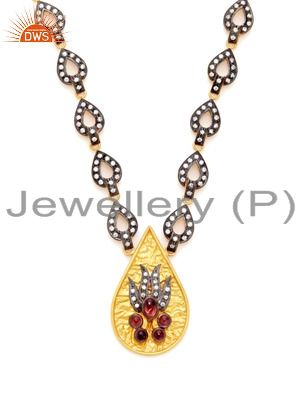 22k yellow gold plated brass cubic zirconia and pink glass fashion necklace