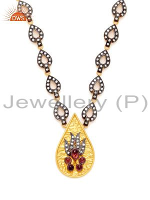 22K Yellow Gold Plated Sterling Silver Cubic Zirconia Fashion Necklace