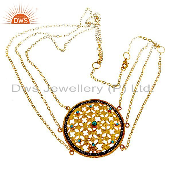 22K Yellow Gold Plated Brass Turquoise Gemstone Designer Fashion Necklace