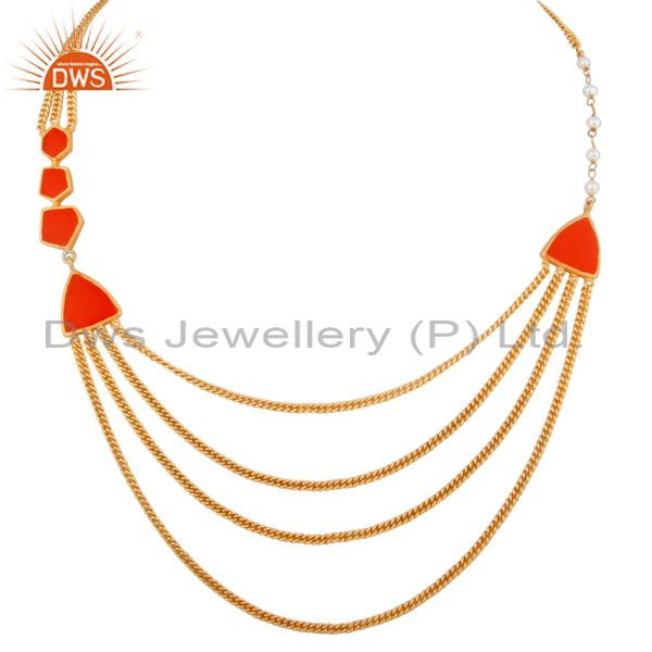 18k yellow gold plated brass three layered chain necklace with red enamel