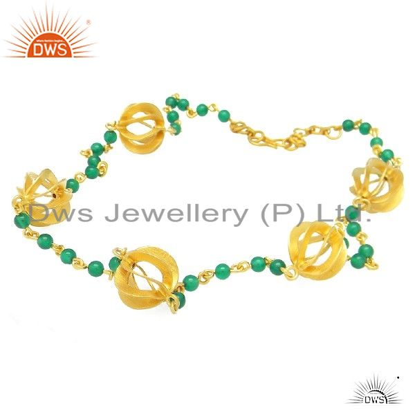 22k yellow gold plated sterling silver green onyx beads beaded chain necklace