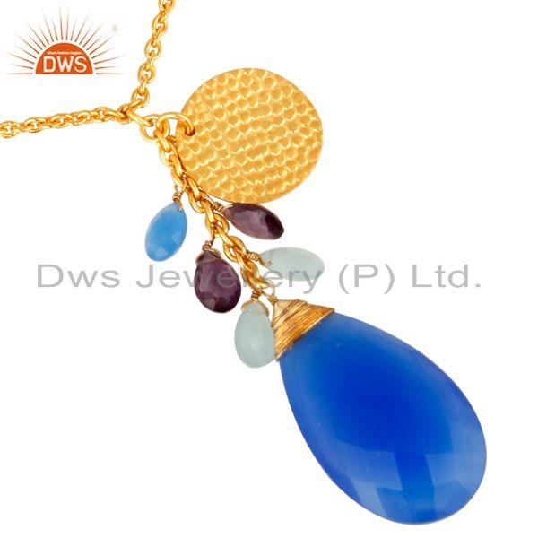 18K Yellow Gold Plated Faceted Blue Chalcedony Briolette Pendant Necklace