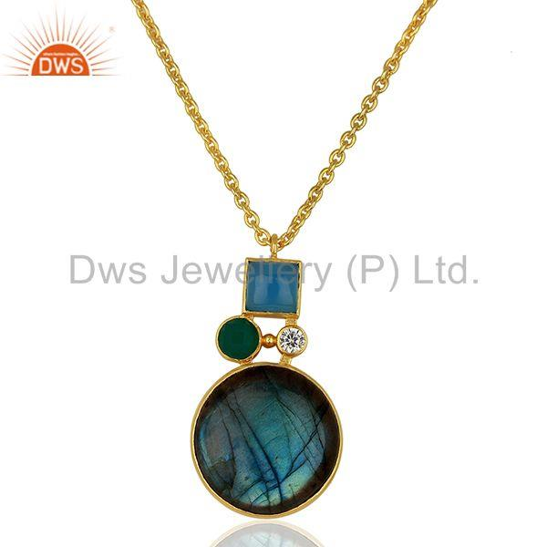 Green Onyx Labradorite Gemstone Gold Plated Fashion Pendant Supplier