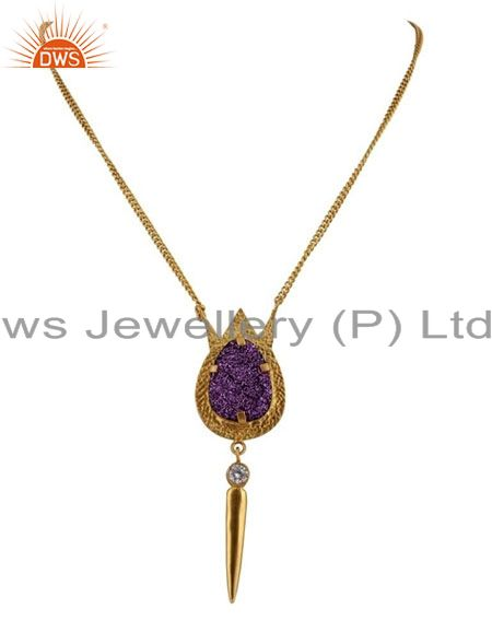 24k yellow gold plated brass purple druzy and cz spike pendant with chain