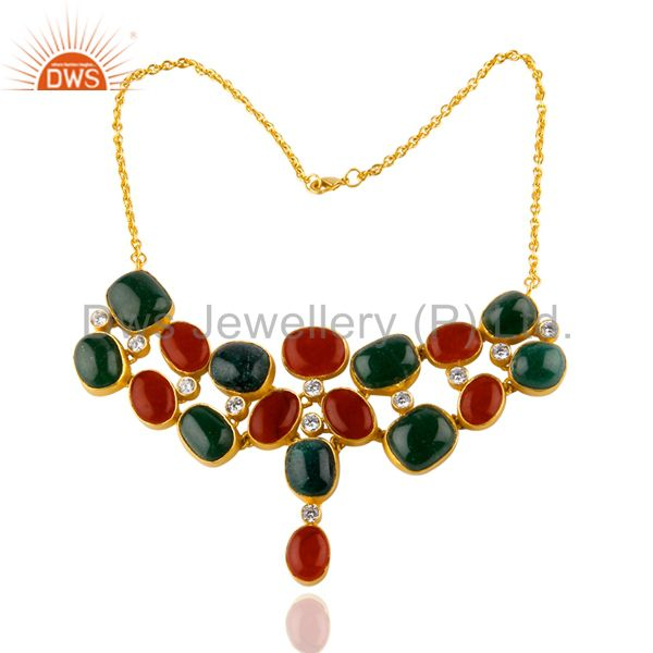 24K Yellow Gold Plated Brass Green And Red Aventurine Bib Necklace With CZ