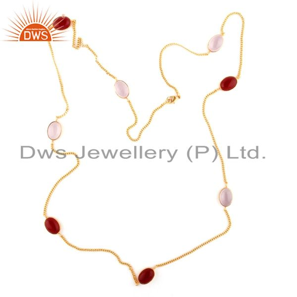 24K Yellow Gold Plated Brass Chalcedony And Red Aventurine Link Chain Necklace