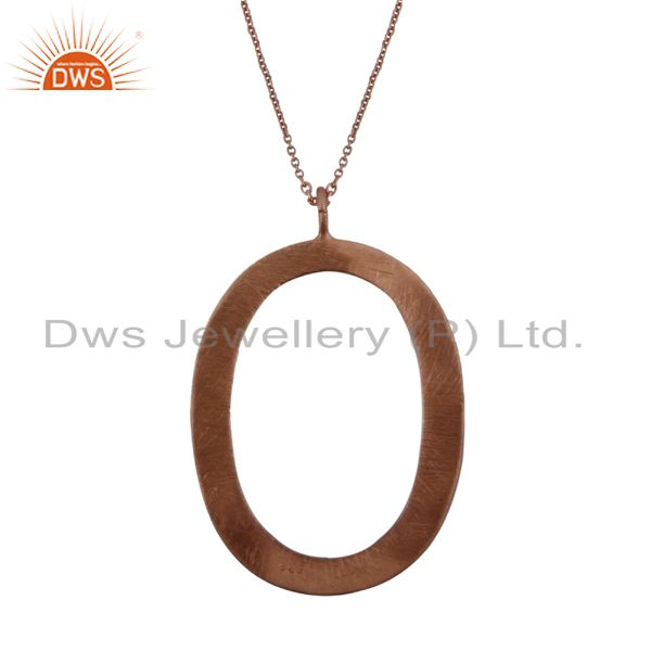 18K Rose Gold Plated Sterling Silver Cutout Oval Pendant With Chain