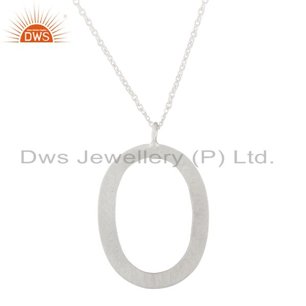 Handmade 925 Sterling Silver Cutout Oval Pendant With Chain