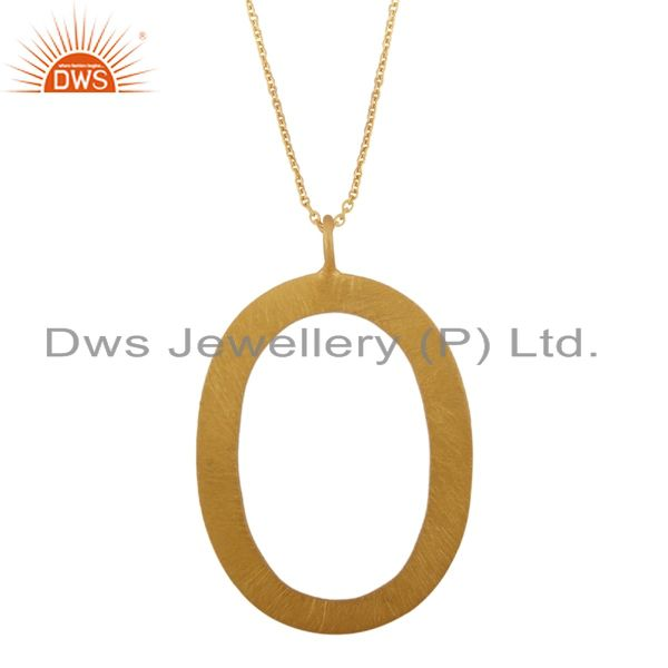 22K Yellow Gold Plated Sterling Silver Hammered Oval Cutout Pendant With Chain