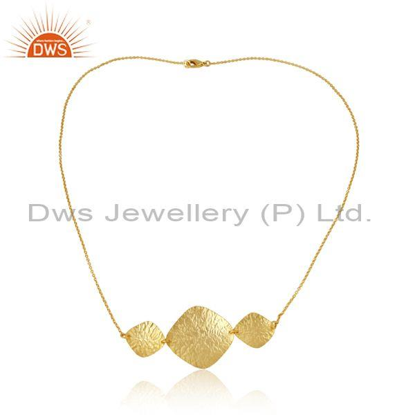 Handmade Textured Design Yellow Gold on Fashion Necklace