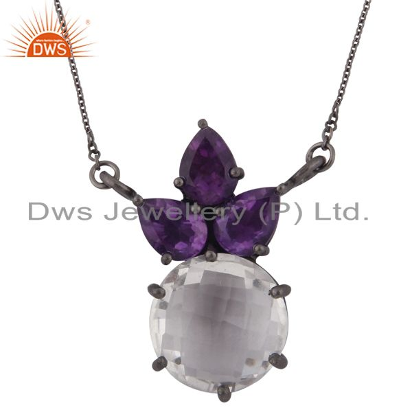 Oxidized Sterling Silver Amethyst And Crystal Quartz Cluster Chain Necklace