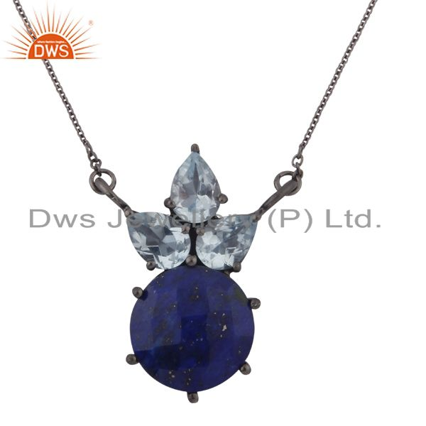 Oxidized Sterling Silver Lapis lazuli And Blue Topaz Cluster Pendant Necklace