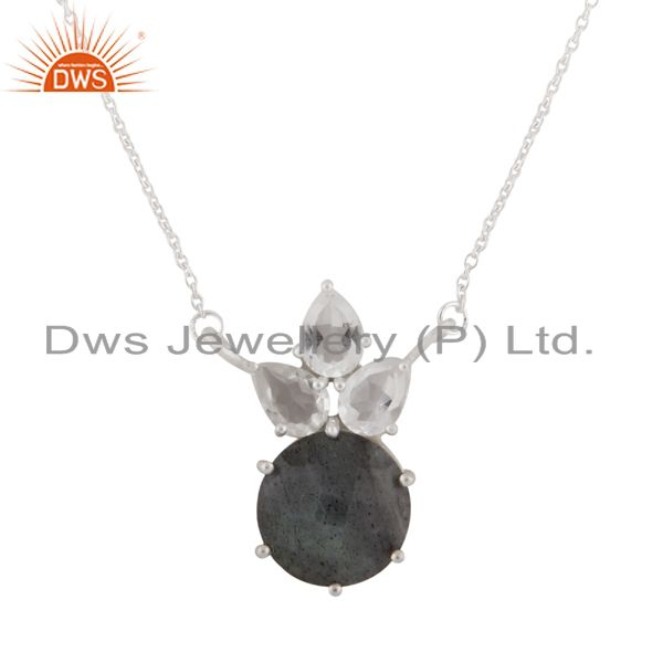 925 Sterling Silver Labradorite And Crystal Quartz Cluster Pendant With Chain