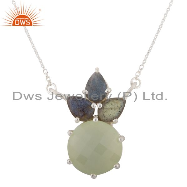 925 Sterling Silver Labradorite And Green Chalcedony Cluster Pendant Necklace
