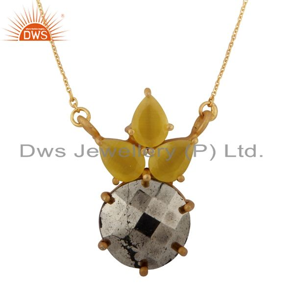 18K Gold Plated Sterling Silver Pyrite And Yellow Moonstone Pendant Necklace
