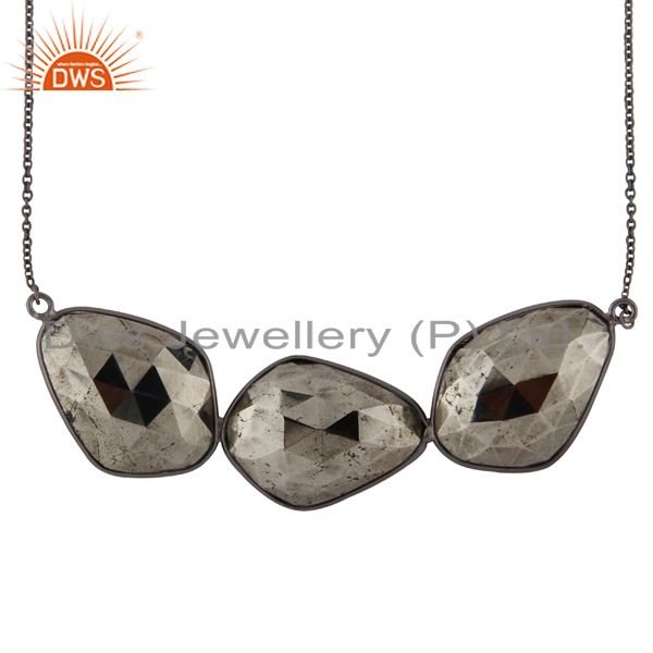 Oxidized Solid Sterling Silver Faceted Pyrite Bezel Set Link Chain Necklace
