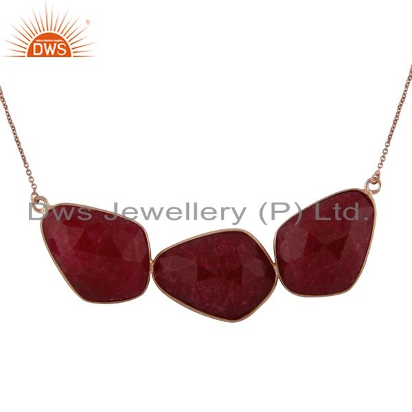 18K Rose Gold Plated Sterling Silver Dyed Ruby Gemstone Bezel Set Necklace