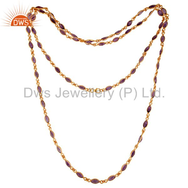 18K Yellow Gold Plated Sterling Silver Amethyst Gemstone Link Chain Necklace