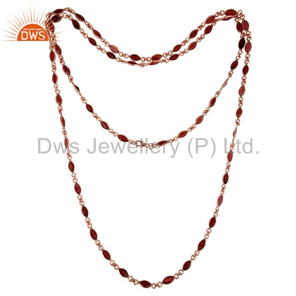 18K Rose Gold Plated Sterling Silver Garnet Gemstone Link Chain Necklace