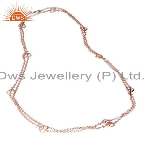 18K Rose Gold Plated Sterling Silver Peace Sign Link Chain Necklace Jewelry