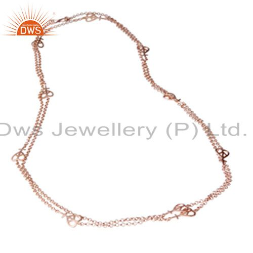 18K Rose Gold Plated Sterling Silver Peace Sign Link Chain Necklace