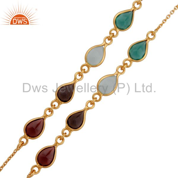 18K Yellow Gold Plated Sterling Silver Garnet And Green Onyx Link Chain Necklace