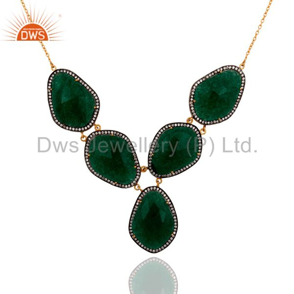 24K Yellow Gold Plated Sterling Silver Green Aventurine And CZ Fashion Necklace
