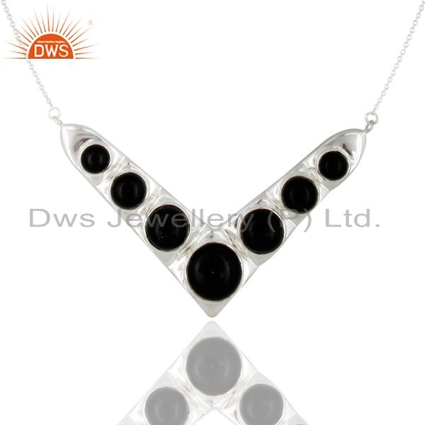 925 Sterling Silver Natural Black Onyx Gemstone Necklace
